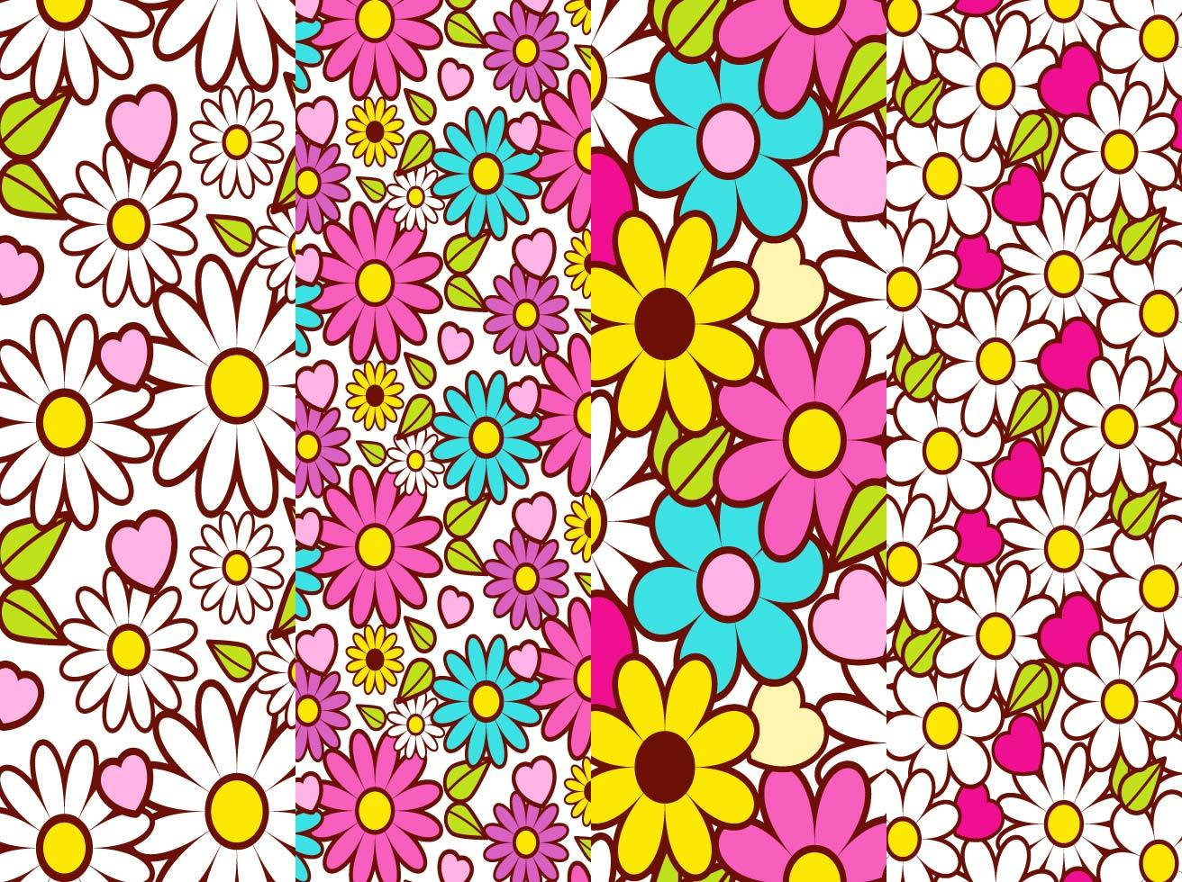 Retro Floral Background Vector Set