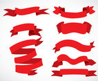 Red Ribbons Vector Sets