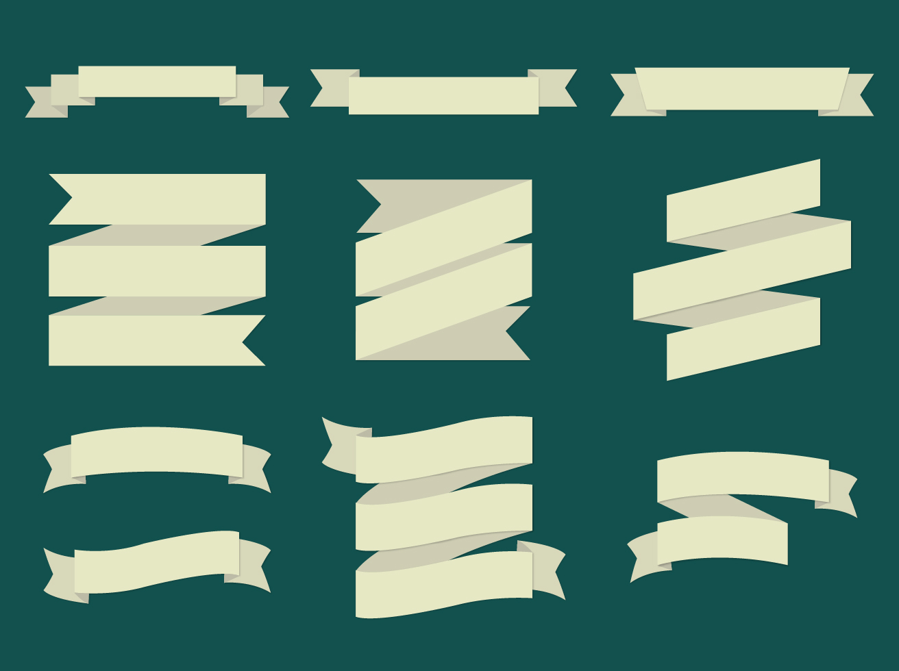 Flat Vector Ribbons Set