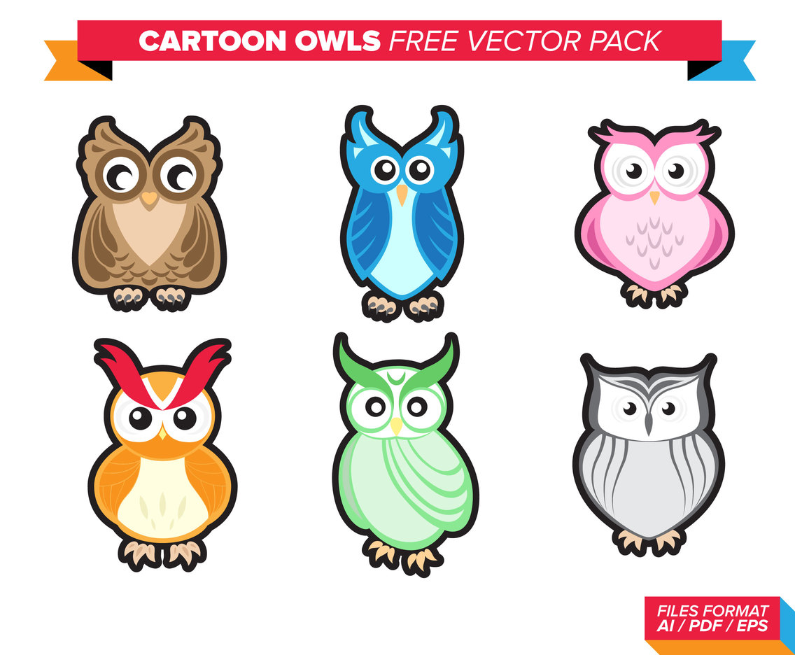 Cartoon Owl Free Vector Pack