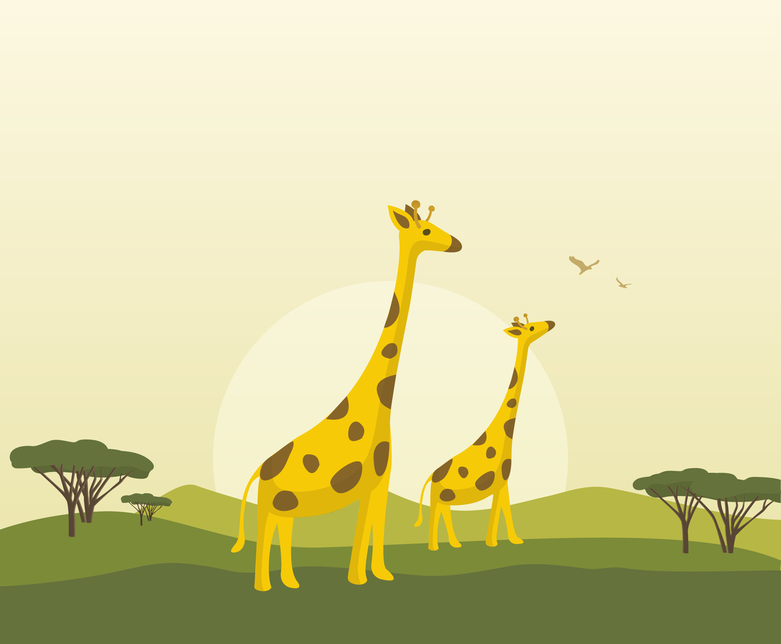 Free Cartoon Giraffe Vector Background
