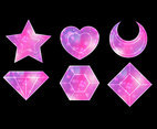 Pink Sparkles Galaxy Icon Set
