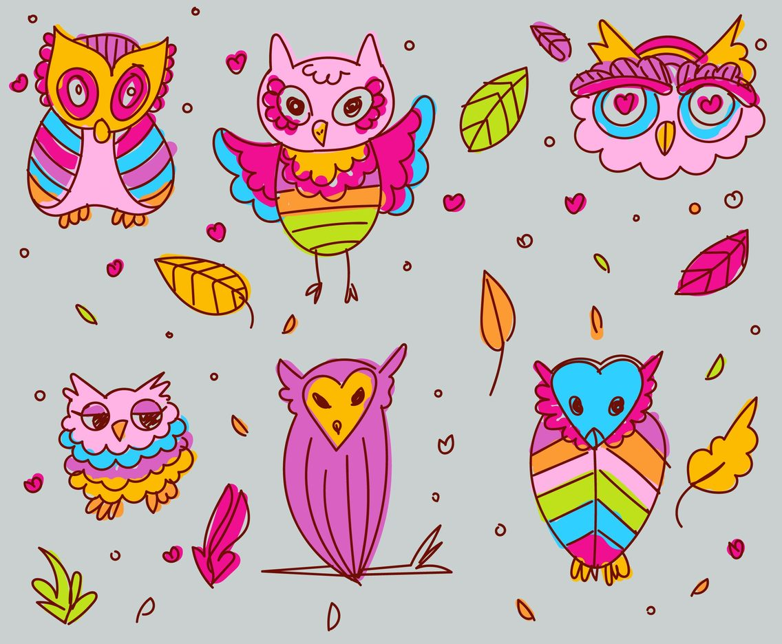 Cartoon Owl Vector Set