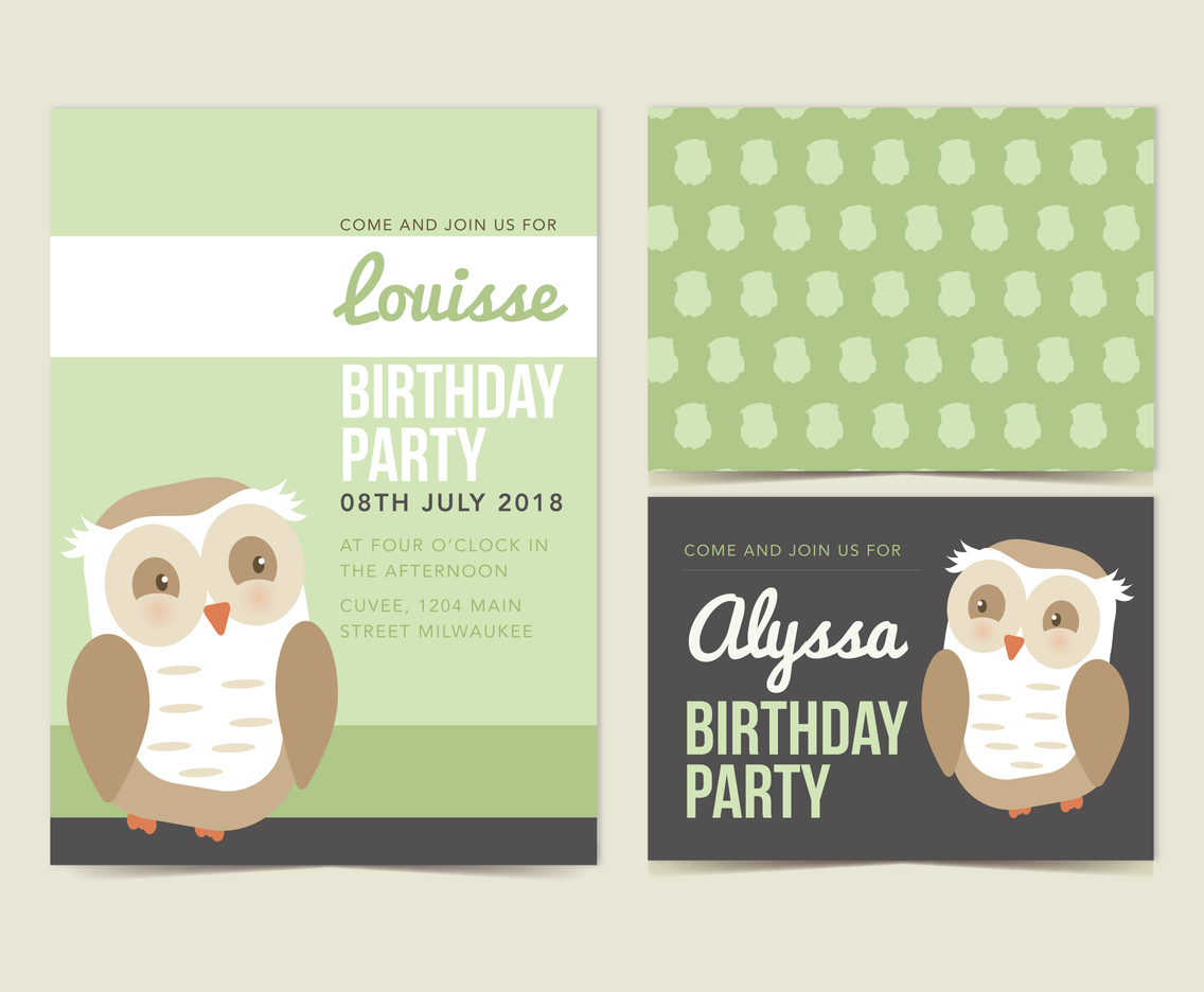 Vector Owl Birthday Invitation
