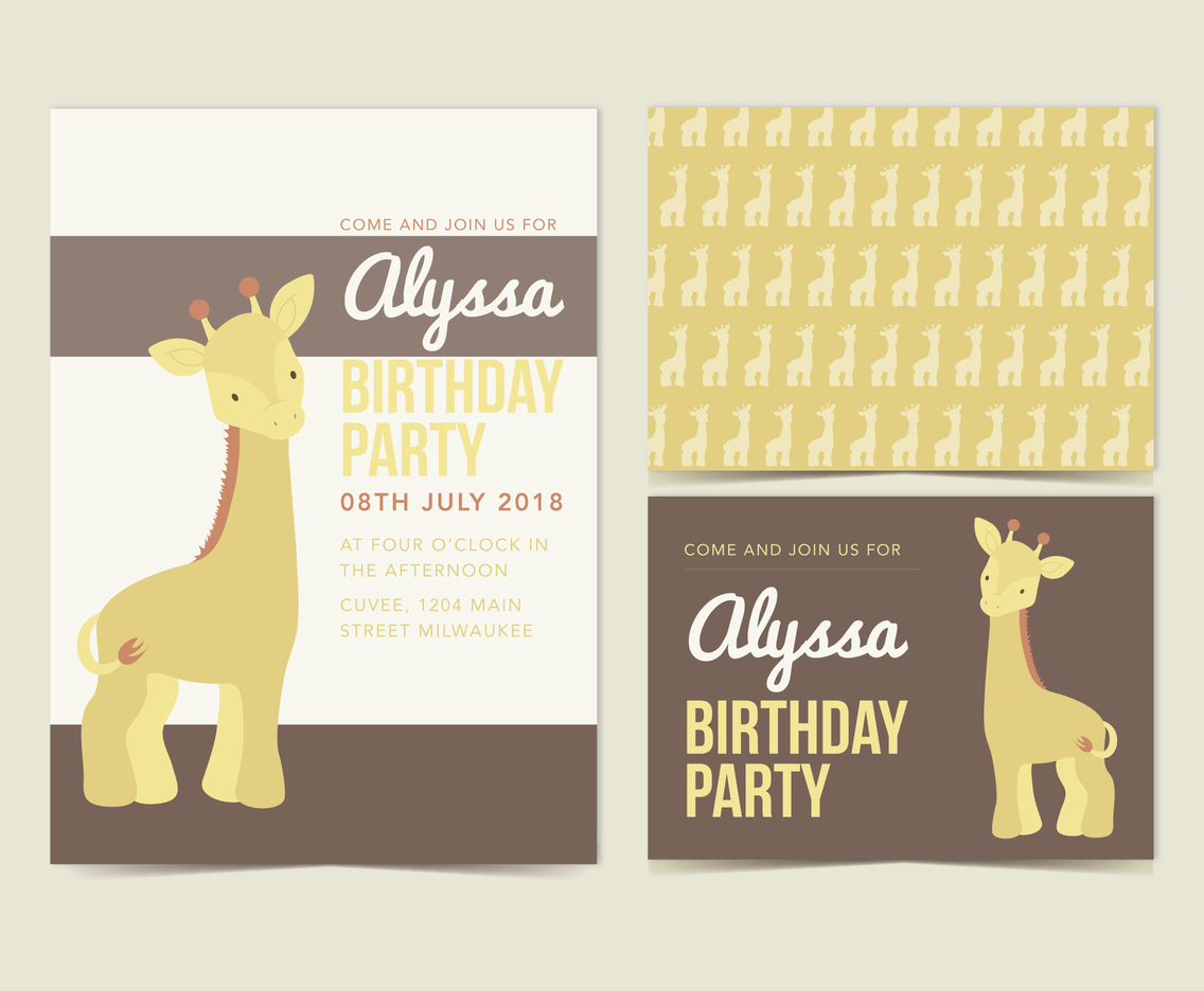 Vector Giraffe Birthday Invitation