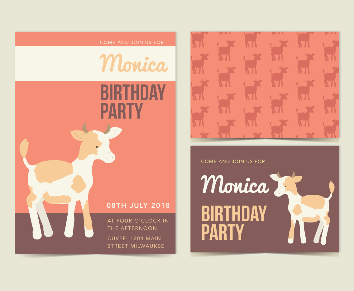 Vector Cow Birthday Invite Vector Art Graphics freevectorcom
