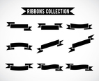 Black Ribbons Set Vector