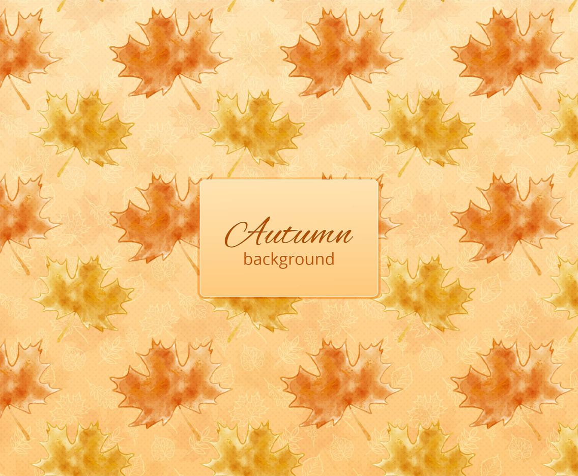 Free Vector Autumn Background With Watercolor Leaves