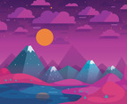 Sky with Night Landscape Vector