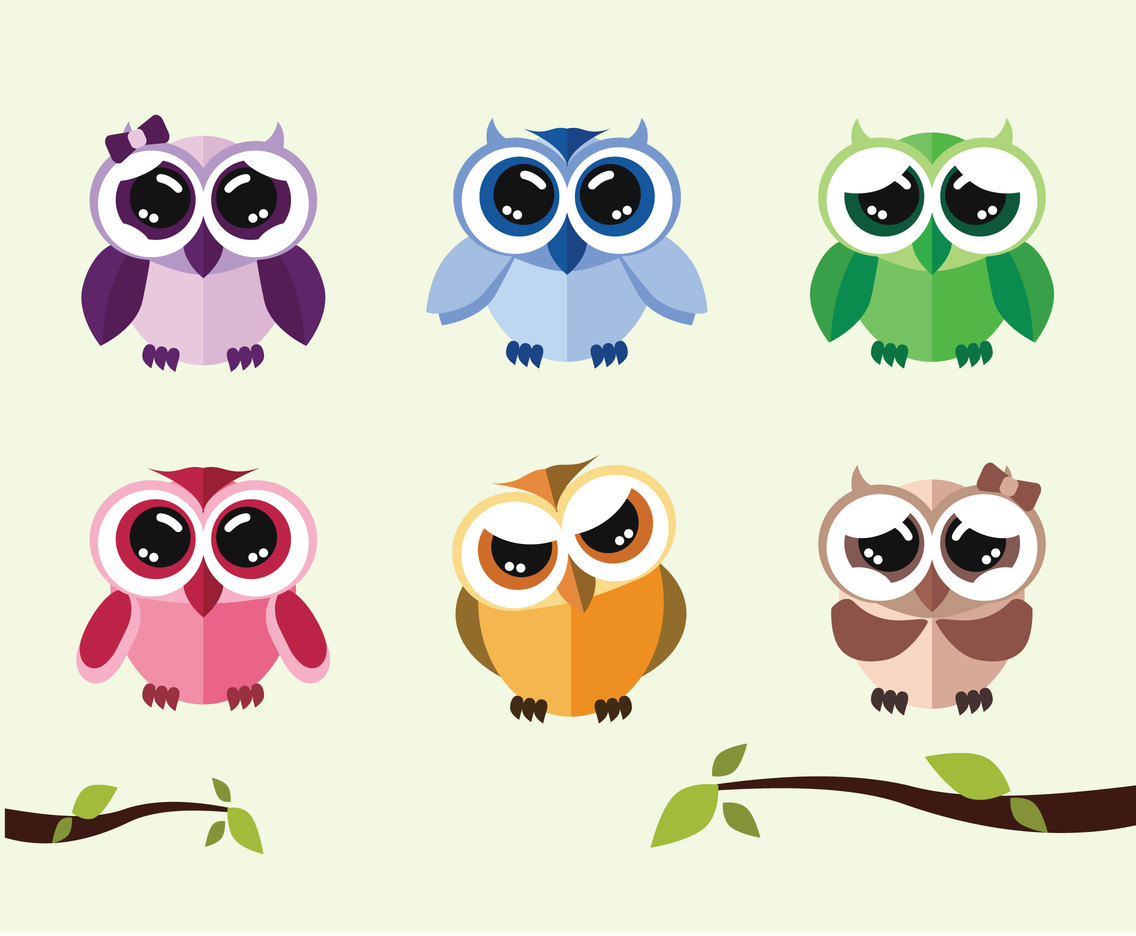 Cute Cartoon Owls Vector
