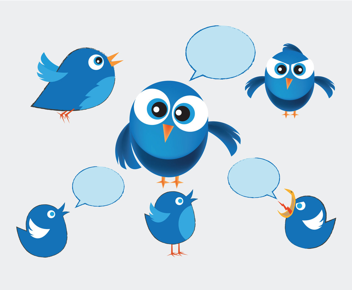 Sketchy Twitter Birds Vector