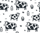 Cartoon Cow Pattern Vector