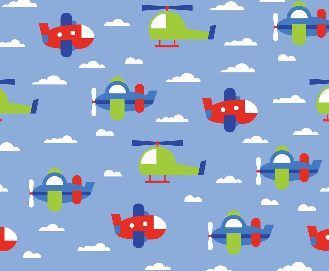Cartoon Airplane Sky Pattern Vector