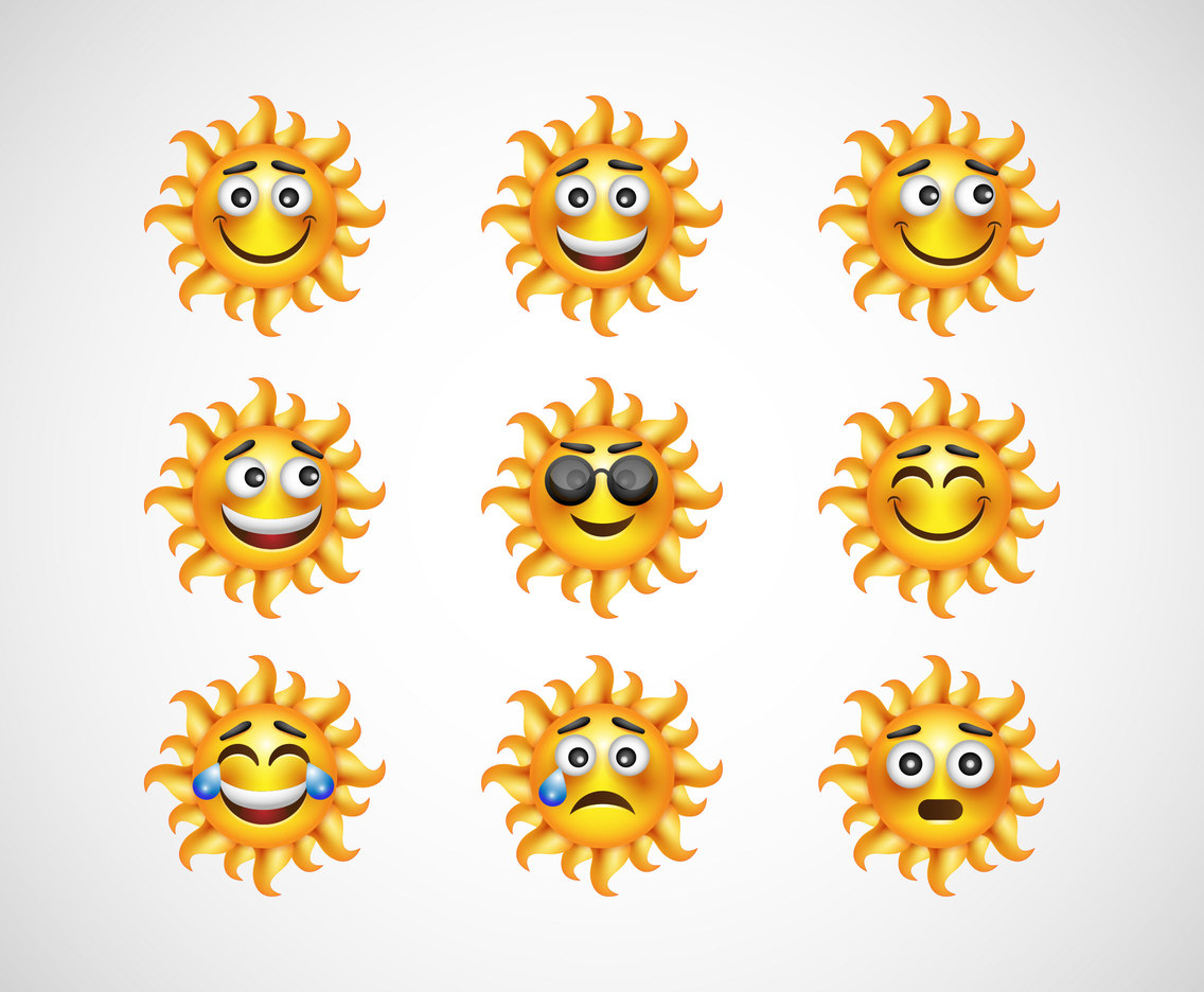 Free Cartoon Sun Emoticon Vectors