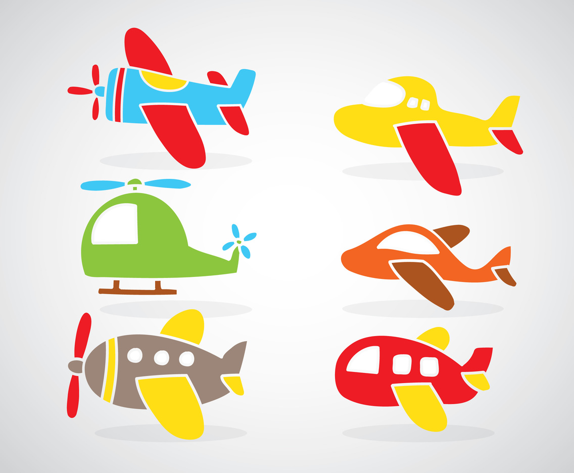 Colorful Cartoon Plane Set Vector