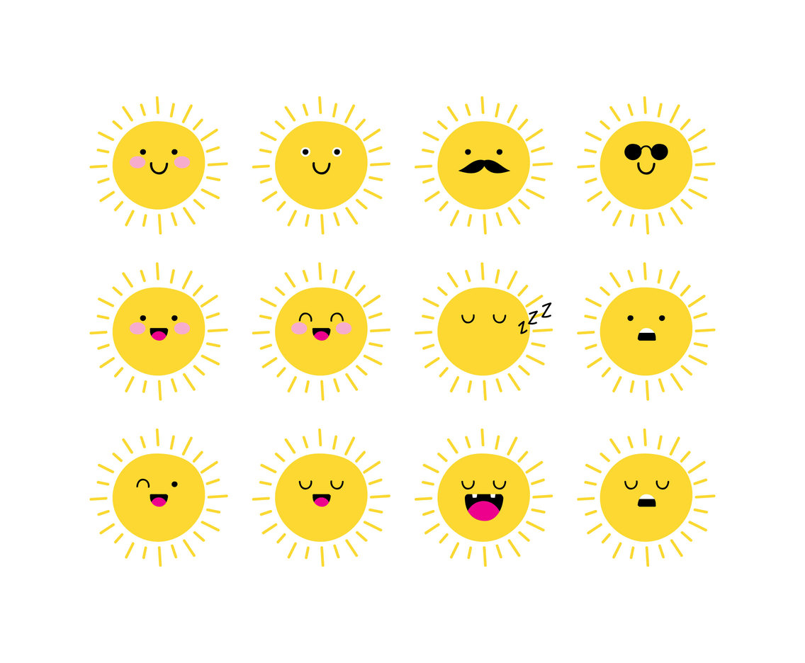 fe714c61a7ad Cartoon Sun Emoticon Vector Art   Graphics
