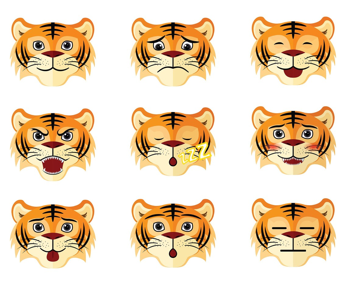 Free Cartoon Tiger Icons Vector