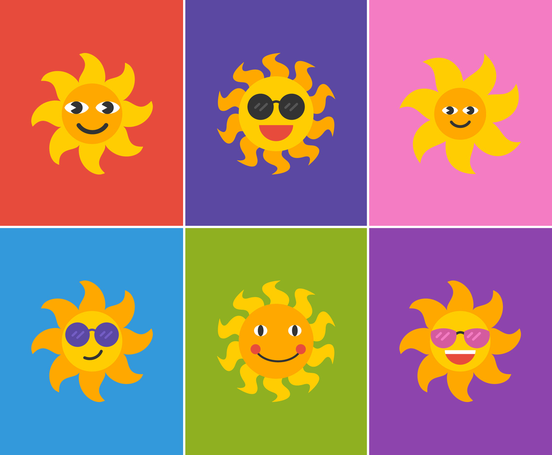 Free Vector Cartoon Sun Set
