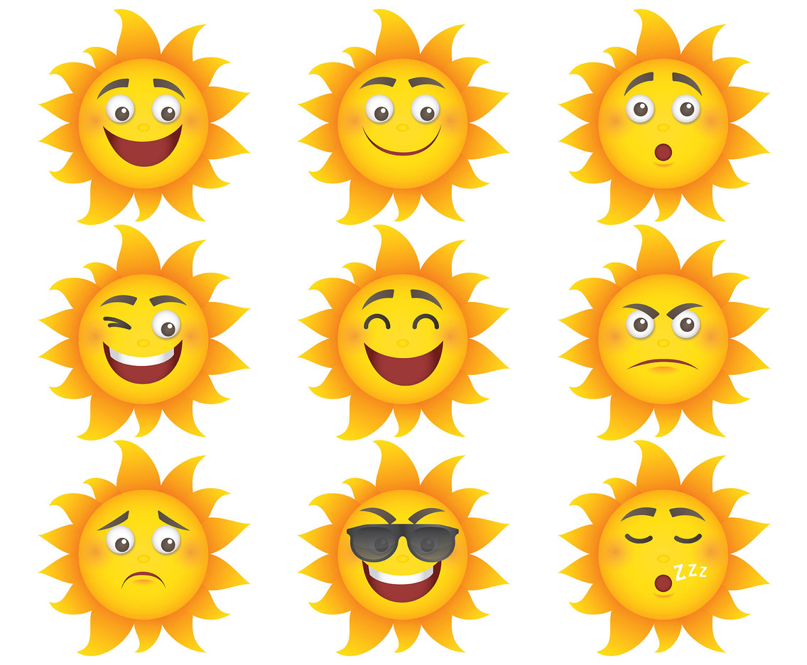 Free Cartoon Sun Icons Vector