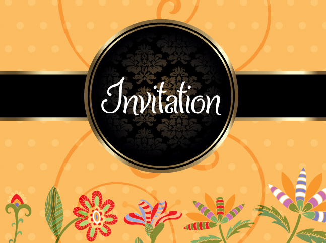 Floral invitation vector background vector art graphics floral invitation vector background stopboris Choice Image