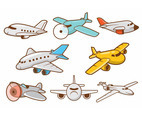 Cartoon Airplane Vector Set