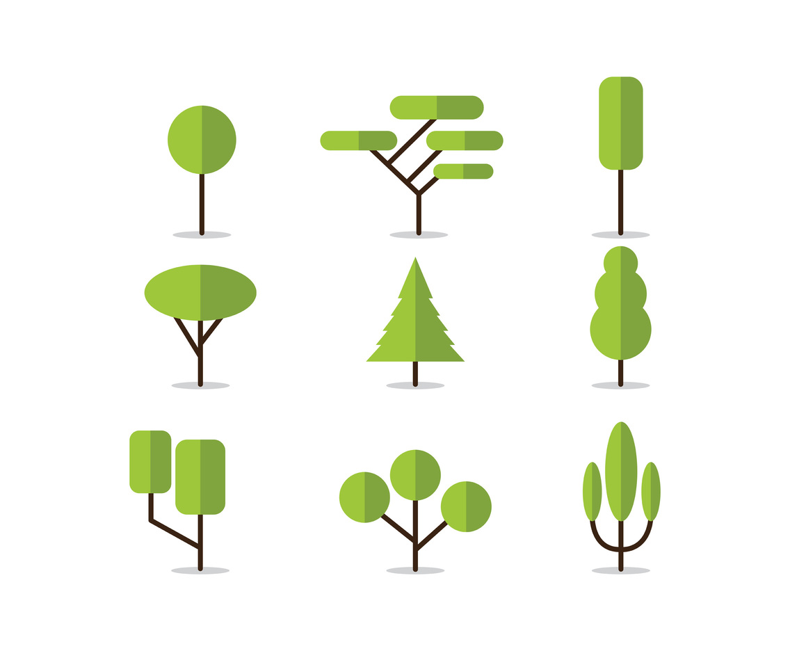 set of tree vector icons vector art u0026 graphics freevector com