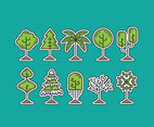 CARTOON TREE VECTOR ICONS