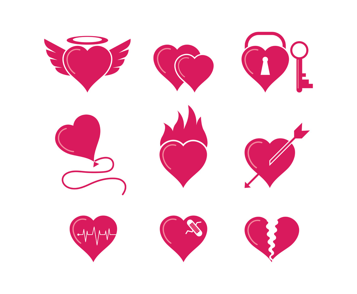 Collection Of Heart Vector Symbols