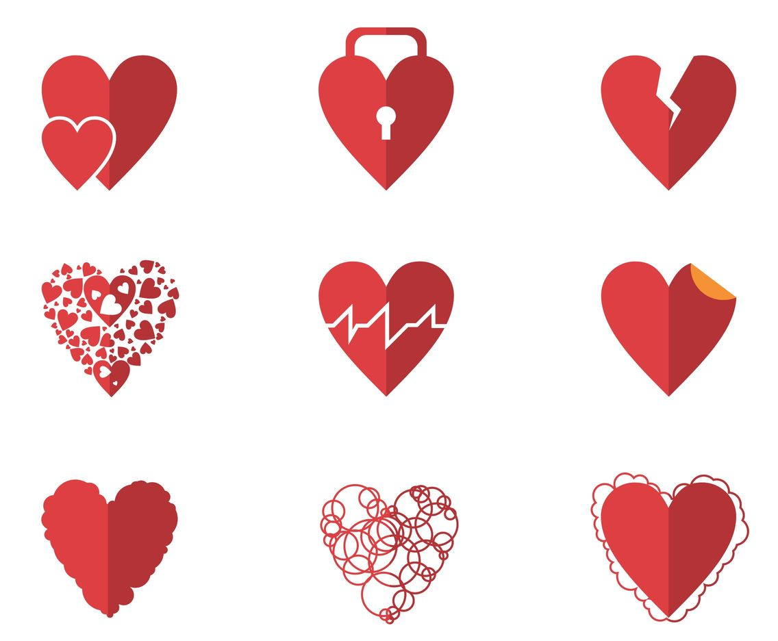 All About Love Heart Vectors