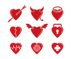 Set Of Heart Vector Icon