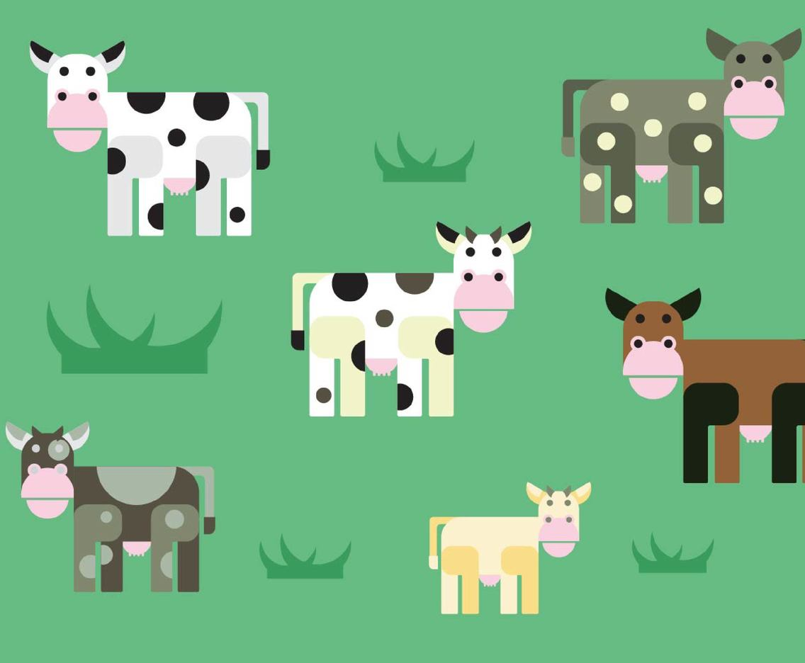 Free Cartoon Cows Vectors