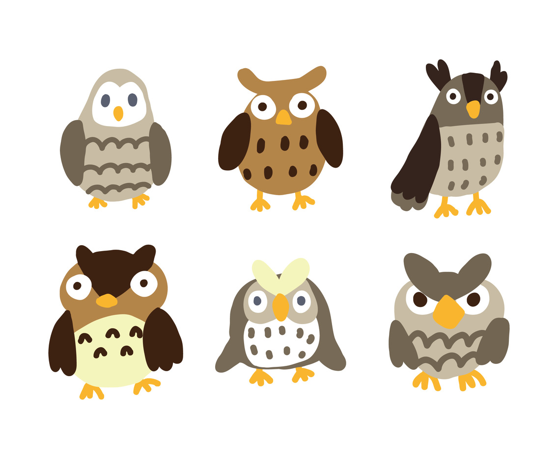 Different Kind of Cartoon Owl Vectors