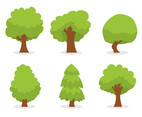 Green Cartoon Tree Vector Set