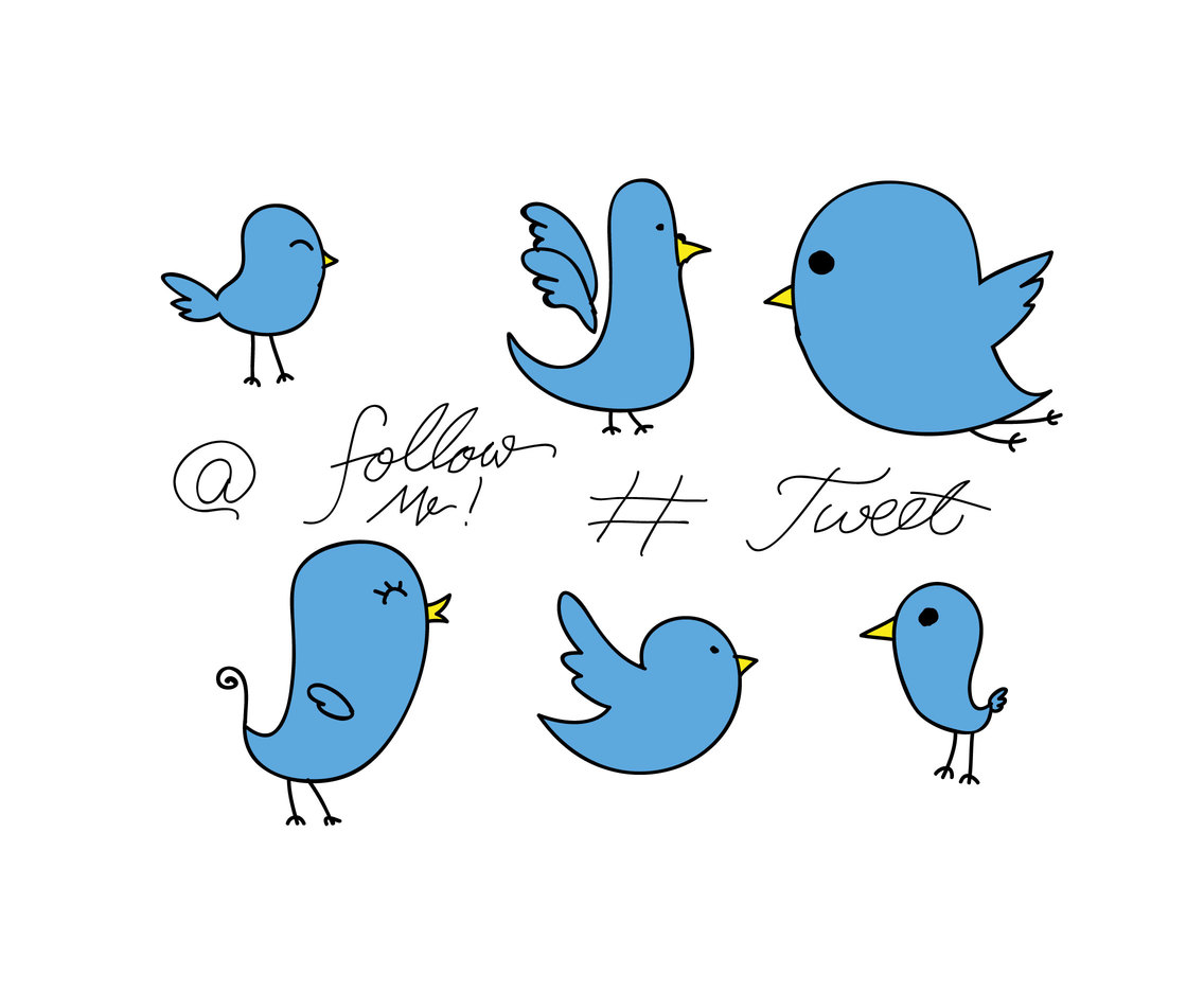 Isolated Sketchy Twitter Bird Vector