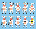 Cow Emoticon Vector Set