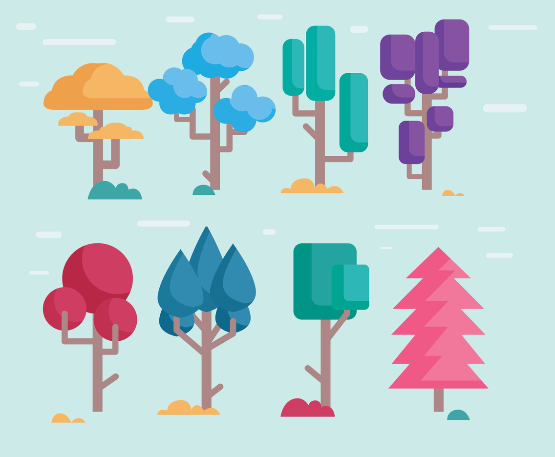 Cartoon Tree Colorfull Vector