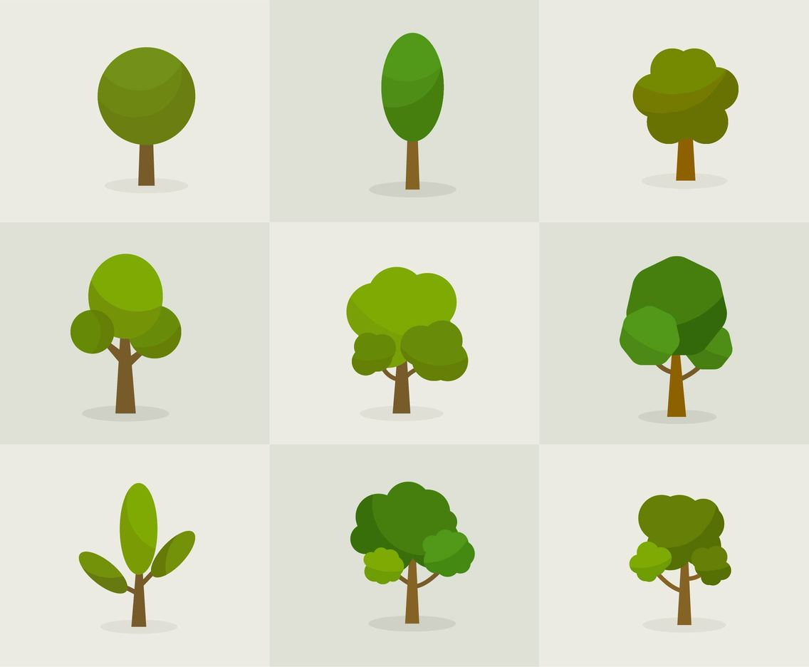 Free Vector Cartoon Spring Or Summer Trees