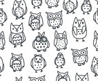 Black and White Owl Pattern Vector