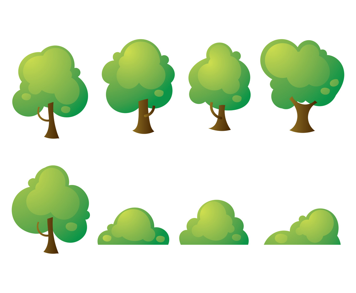Free Cartoon Tree and Bush Vectors