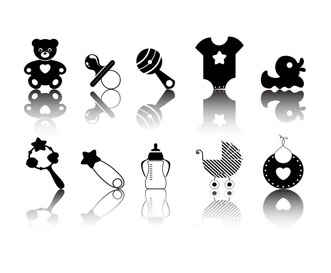 Baby Elements Silhouette vector