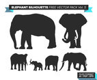 Elephant Silhouette Free Vector Pack Vol. 5