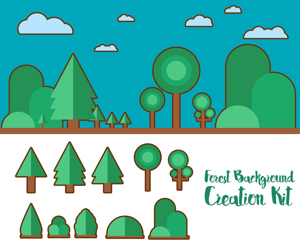Forest Background Creation Kit Cartoon
