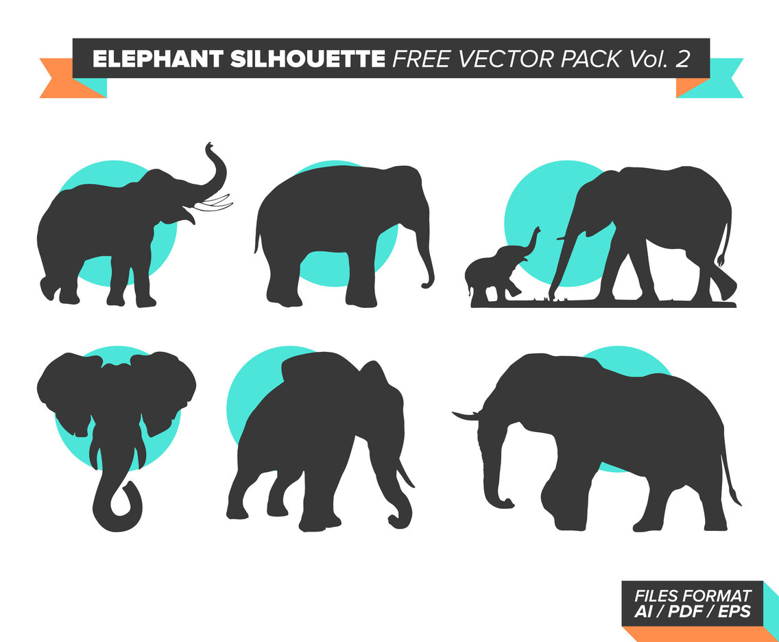 Elephant Silhouette Free Vector Pack Vol. 2