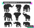 Elephant Silhouette Free Vector Pack Vol. 6