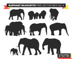 Elephant Silhouette Free Vector Pack Vol. 4