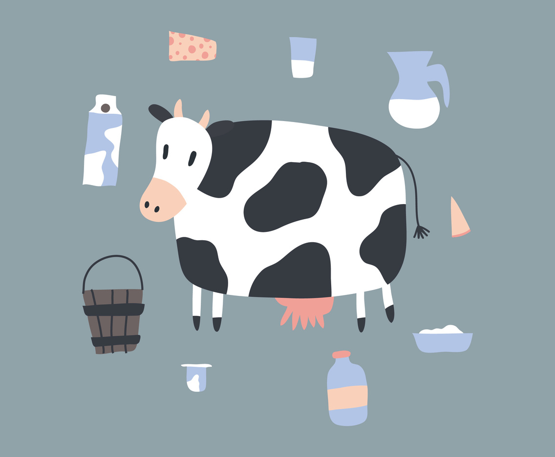 Cow and Dairy Product Vectorss