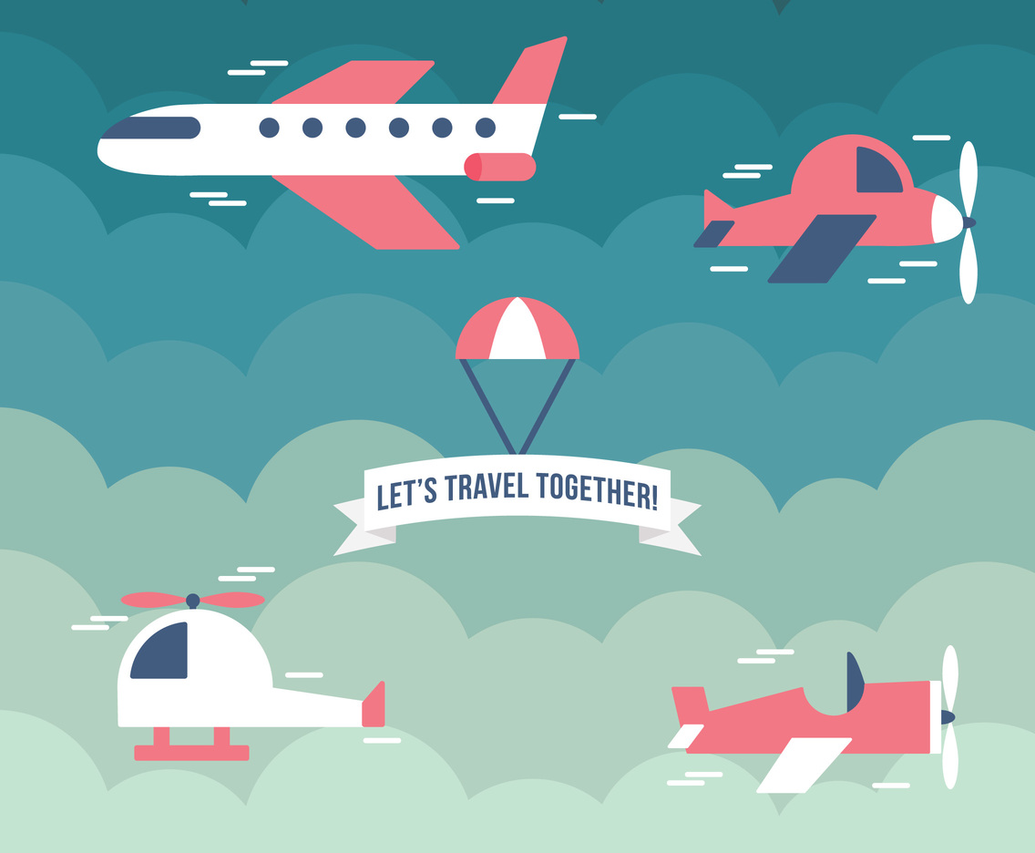 Lets Travel Together Vector Art Graphics