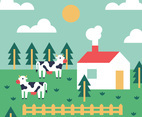 Colorful Farm Vector Background