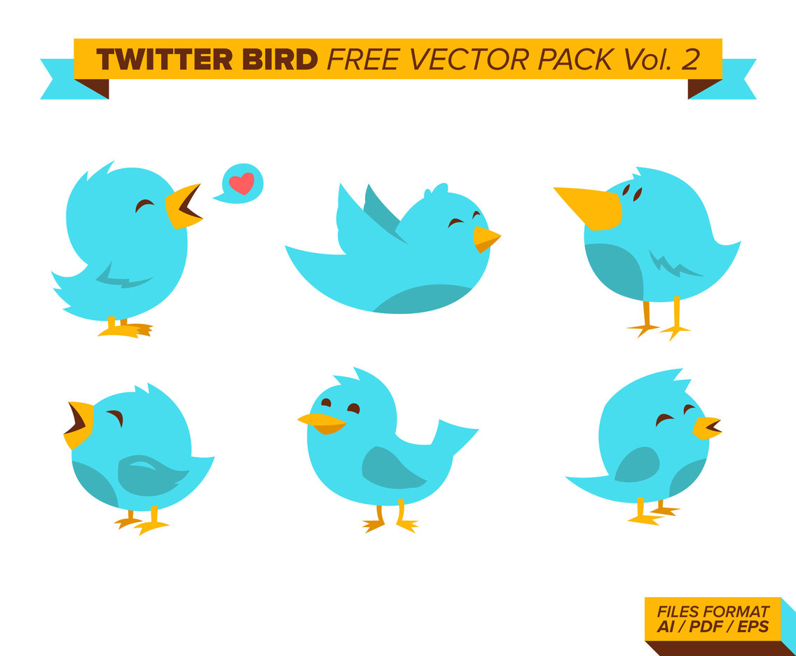 Twitter Bird Free Vector Pack Vol. 2