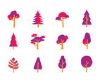 PINK CARTOON TREE VECTORS